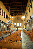 The 5th-century 3 aisled Byzantine  Basilica  of the Acheiropoietos, , with its rare simple Iconoclastic cross above the altar. a Palaeochristian and Byzantine Monuments of Thessaloniki, Greece. A UNESCO World Heritage Site.