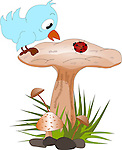 Vector illustration of a cute blue bird sitting on Mushroom top looking curiously at a ladybug.<br />
