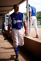 25 June 2011: Yann Dal Zotto of Team France. Illustration of a photographic essay called Life in the dugout, during Czech Republic 11-1 win over France, at the 2011 Prague Baseball Week, in Prague, Czech Republic.