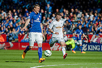 LEICESTER, ENGLAND - APRIL 18:Nelson Oliveira of Swansea City  tries to catch up with Robert Huth of Leicester City  during the Premier League match between Leicester City and Swansea City at The King Power Stadium on April 18, 2015 in Leicester, England.  (Photo by Athena Pictures/Getty Images)
