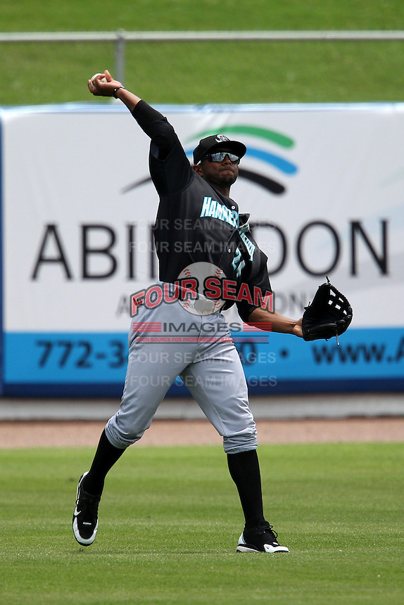 Jupiter Hammerheads outfielder Isaac Galloway #24 during a game against the St. Lucie Mets at Digital Domain Park on May 2, 2012 in Port St. Lucie, Florida.  St. Lucie defeated Jupiter 3-2.  (Mike Janes/Four Seam Images)