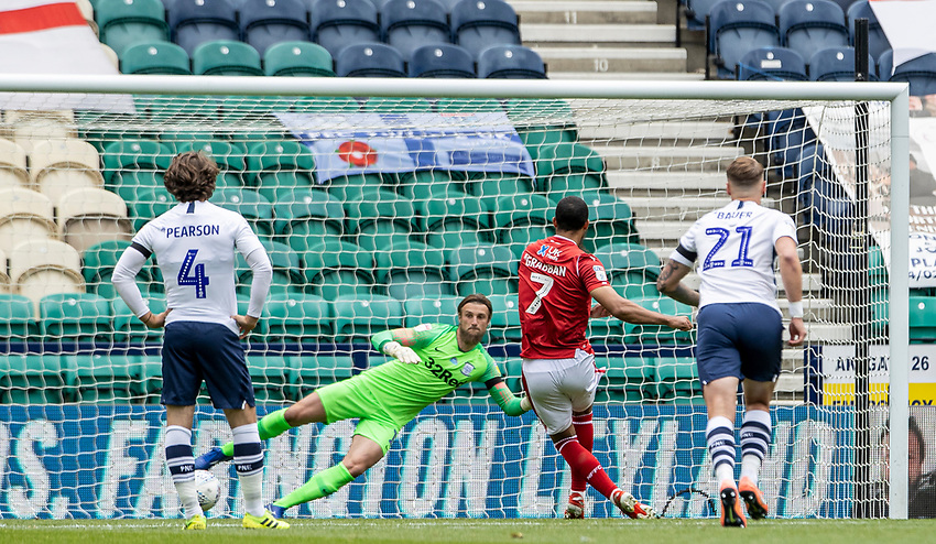 Preston North End's goalkeeper Declan Rudd is beaten by a penalty kick from Nottingham Forest's Lewis Grabban for their first goal<br /> <br /> Photographer Andrew Kearns/CameraSport<br /> <br /> The EFL Sky Bet Championship - Preston North End v Nottingham Forest - Saturday 11th July 2020 - Deepdale Stadium - Preston <br /> <br /> World Copyright © 2020 CameraSport. All rights reserved. 43 Linden Ave. Countesthorpe. Leicester. England. LE8 5PG - Tel: +44 (0) 116 277 4147 - admin@camerasport.com - www.camerasport.com