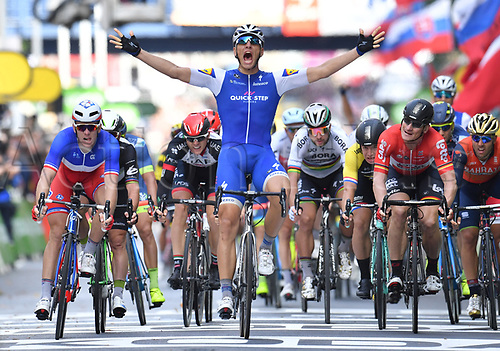 July 2nd 2017, Dusseldorf, Germany;  German race cyclist Marcel Kittel (c) of the Team Quick-Step Floors wins the stage in front of Arnaud Demare from France (l) of the Team FDJ and Andre Greipel from Germany of the Team Lotto Soudal after the Tour de France 2nd stage between Duesseldorf and Liege in Mettmann, Germany, 2 July 2017. The 104th Tour de France consists of 21 stages with a total distance of 3,540 kilometers.