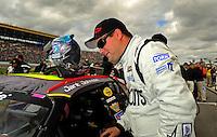Oct. 3, 2009; Kansas City, KS, USA; NASCAR Nationwide Series driver Jarit Johnson during the Kansas Lottery 300 at Kansas Speedway. Mandatory Credit: Mark J. Rebilas-