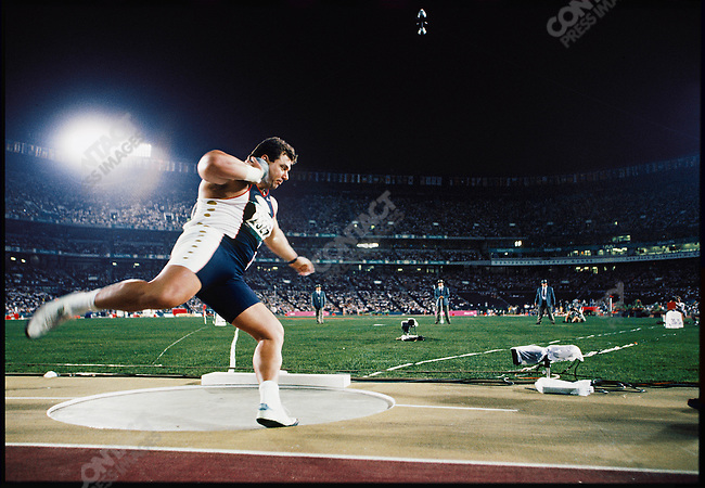 Shot put finals, men, Randy Barnes (USA) gold. Atlanta, Georgia, USA, August, 1996.