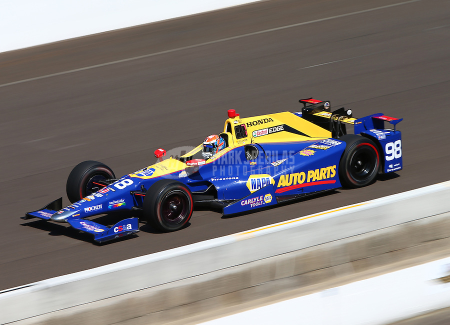 May 27, 2016; Indianapolis, IN, USA; IndyCar Series driver Alexander Rossi during Carb Day for the Indianapolis 500 at Indianapolis Motor Speedway. Mandatory Credit: Mark J. Rebilas-USA TODAY Sports