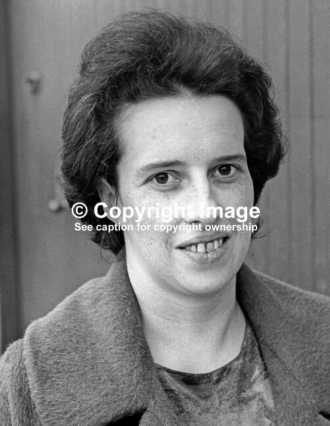 Eileen Paisley, wife, Rev Ian Paisley, Moderator, Free Presbyterian Church, and loyalist leader. September, 1966. 196609000047b<br />
