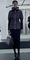 "Catherine Malandrino Fall/Winter 2013, LE NORMANDIE, LILY: BLACK ""STREAMLINE"" QUILTED OUTER JACKET WITH REMOVABLE WOOL SLEEVES/""ODEON"" BAG"