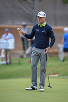 Zach Johnson (USA) sinks his putt on 18 during Round 2 of the Valero Texas Open, AT&amp;T Oaks Course, TPC San Antonio, San Antonio, Texas, USA. 4/20/2018.<br /> Picture: Golffile | Ken Murray<br /> <br /> <br /> All photo usage must carry mandatory copyright credit (&copy; Golffile | Ken Murray)