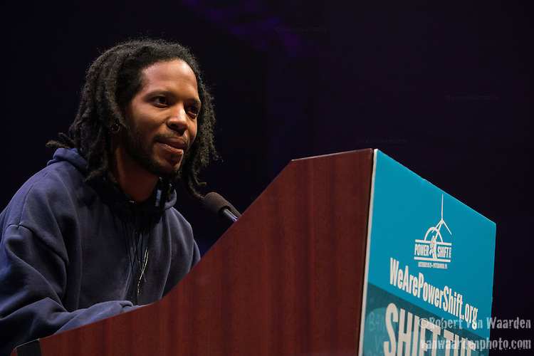 Brian Menifee from Howard University speaks at Powershift about movement intersectionality. Over six thousand young people from all over the country are converging in Pittsburgh, PA for Power Shift 2013, a massive training dedicated to bringing about a safe planet and a just future for all people. (Photo by: Robert van Waarden)