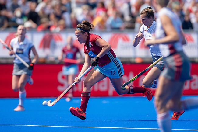Krefeld, Germany, May 18: During the Final4 semi-final fieldhockey match between UHC Hamburg and Club an der Alster on May 18, 2019 at Gerd-Wellen Hockeyanlage in Krefeld, Germany. (worldsportpics Copyright Dirk Markgraf) *** Charlotte Stapenhorst #12 of UHC Hamburg