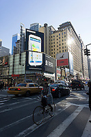 Advertising for the Samsung Note II mobile phone above in the Herald Square neighborhood of New York on Thursday, February 14, 2013.  (© Richard B. Levine)