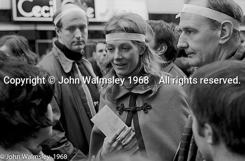 Vanessa Redgrave leading the anti-Vietnam war demonstration march from Trafalgar Sq to Grosvenor Sq Sunday 17th March 1968.  I was told the headband was a Vietnamese sign of mourning for dead children.