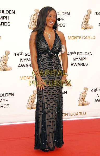 MELANIE BROWN.At the Golden Nymph awards ceremony during the 2008 Monte Carlo Television Festival held at Grimaldi Forum, Monte Carlo, Principality of Monaco, .June 12, 2008..full length Mel B scary spice girl black beaded dress maxi long cleavage.CAP/TTL.©TTL/Capital Pictures