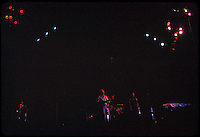 Night shot, full stage, band and lights. Grateful Dead Live at Dillon Stadium, Hartford, CT 31 July 1974. Featuring the Wall of Sound. Back in these days there wasn't much light, period. Their lightiing rig was most minimalist and there simply wasn't the technology for much more on this staging..