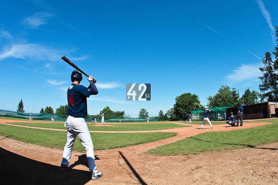 04 June 2010: Illustration of a player in the batter box watching the game during the 2010 Baseball European Cup match won 19-9 by Konica Minolta Pioniers over the Rouen Huskies, at the Kravi Hora ballpark, in Brno, Czech Republic.