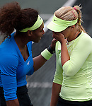 Serena Williams and Sabine Lisicki at the Family Circle Cup in Charleston, South Carolina on April 6, 2012