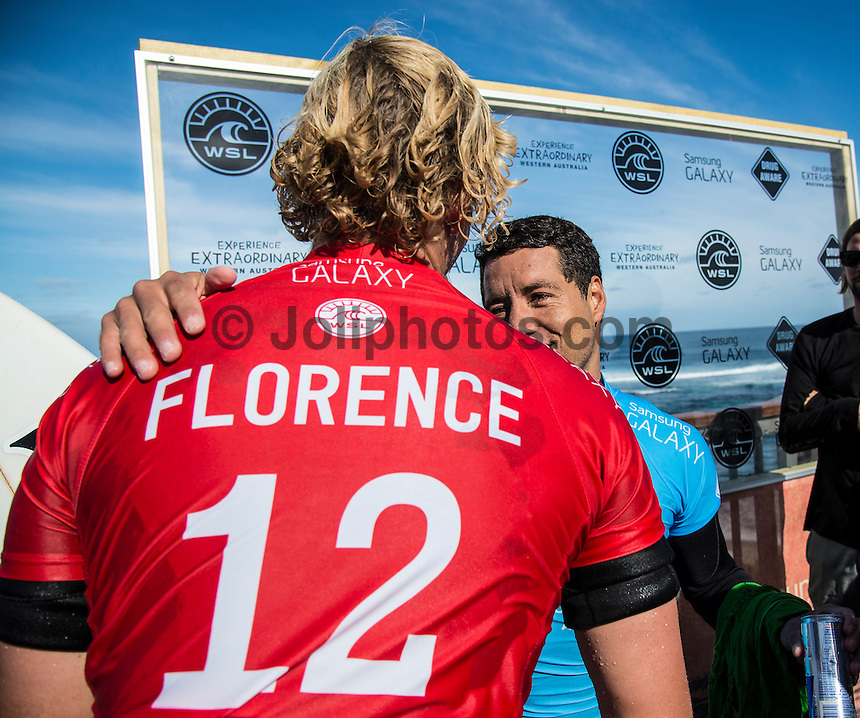 Margaret River, Western Australia (Wednesday, April 22, 2015) John John Florence (HAW) and Adriano de Souza (BRA). – The Men's contest in the 2015 Drug Aware Margaret River Pro was wrapped up today with Adriano de Souza defeating defending former event champion John John Florence (HAW) in the 40 minute final. The surf was in the 6'-8' range at The Main break and with light  offshore winds.  De Souza now leads the world tour rankings after a 3rd at the Quiksilver Pro Gold Coast, a 2nd at the Rip Curl Pro at Bells Beach and now a 1st  at Margaret River .Photo: joliphotos.com