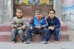 Boys in the Nuseirat refugee camp in the middle of the Gaza strip. .