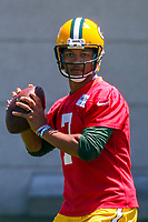 Green Bay Packers quarterback Brett Hundley (7) during an OTA on June 1, 2017 at Clark Hinkle Field in Green Bay, Wisconsin. (Brad Krause/Krause Sports Photography)