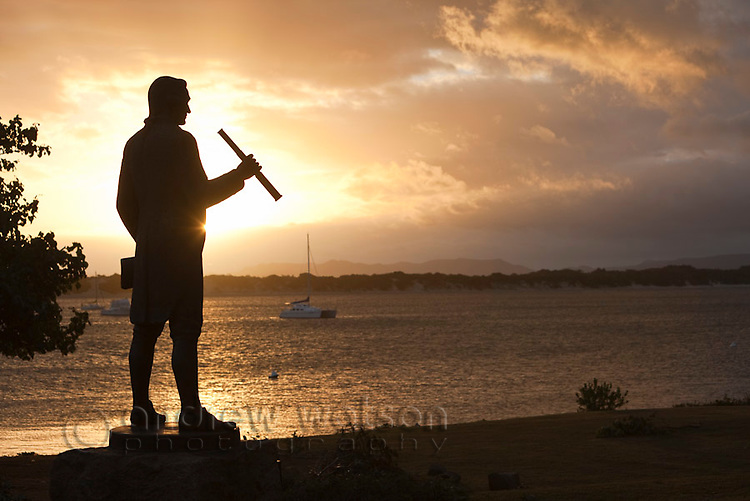 "Statue of Captain James Cook, who landed his ship ""Endeavour"" at present day Cooktown in 1770.  Cooktown, Queensland, Australia"