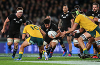 Ardie Savea in action during the Bledisloe Cup Rugby match between the New Zealand All Blacks and Australia Wallabies at Eden Park in Auckland, New Zealand on Saturday, 17 August 2019. Photo: Simon Watts / lintottphoto.co.nz