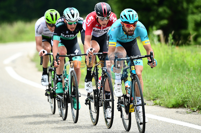 The breakaway group featuring Dario Cataldo (ITA) Astana Pro Team, Jens Keukeleire (BEL) Lotto-Soudal, Lukas Pöstlberger (AUT) Bora-Hansgrohe and Edvald Boasson Hagen (NOR) Team Dimension Data in action during Stage 4 of the 2018 Criterium du Dauphine 2018 running 181km from Chazey sur Ain to Lans en Vercors, France. 7th June 2018.<br /> Picture: ASO/Alex Broadway | Cyclefile<br /> <br /> <br /> All photos usage must carry mandatory copyright credit (© Cyclefile | ASO/Alex Broadway)