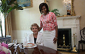Washington, DC - June 3, 2009 -- Former first lady Nancy Reagan, left, visits first lady Michelle Obama, right, the White House in Washington, D.C. on Wednesday, June 3, 2009. <br /> Mandatory Credit: Samantha Appleton - White House via CNP