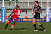 10th February 2019, AJ Bell Stadium, Salford, England; Betfred Super League rugby, Salford Red Devils versus London Broncos; Rob Lui of Salford Red Devils kicks the ball clear for field position