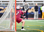 Towson, MD - May 6, 2017: UMASS Minutemen D.J. Smith (42) in the goal during CAA Championship game between Towson and UMASS at Minnegan Field at Johnny Unitas Stadium  in Towson, MD. (Photo by Phillip Peters/Media Images International)