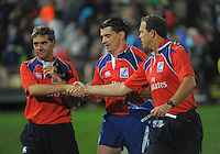 The match officials shake hands after The Rugby Championship match between the New Zealand All Blacks and Argentina Pumas at McLean Park, Napier, New Zealand on Saturday, 23 August 2014. Photo: Dave Lintott / lintottphoto.co.nz