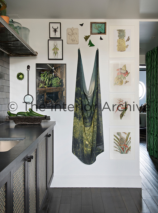 In the kitchen, a bold colour approach of black and shades of grey is offset with items in varying shades of green, such as a display of botanical prints on one wall.