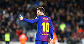 11th January 2018, Camp Nou, Barcelona, Spain; Copa del Rey football, round of 16, 2nd leg, Barcelona versus Celta Vigo; Lionel Messi gives a thumbs up to the fans after scoring for 2-0 in the 15th minute