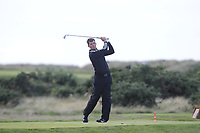 Mitch Waite from England on the 18th tee during Round 3 Singles of the Men's Home Internationals 2018 at Conwy Golf Club, Conwy, Wales on Friday 14th September 2018.<br /> Picture: Thos Caffrey / Golffile<br /> <br /> All photo usage must carry mandatory copyright credit (&copy; Golffile | Thos Caffrey)