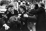 Audrey Wise, London MP fights with police at Grunwick picket line, North London.