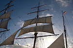 sailing ship in San Diego Harbor, sails in the sky abstract, California, USA
