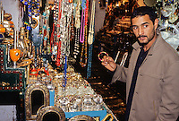Tunisia.  Tunis Medina.  Jewelry Salesman.