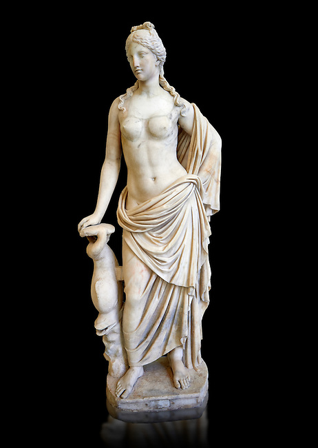 2nd - 1st century BC Roman marble sculpture of Aphrodite (Venus), 'Marine Venus' Type with a dolphin, copied from a Hellanistic Greek original,  inv 6296, Museum of Archaeology, Italy, black background