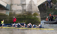 Mortlake/Chiswick, GREATER LONDON. United Kingdom. Oxford win the 2017 University Men's Boat Race, Oliver [Sitting] and brother James COOK, embrace after the race.<br /> Championship Course,  Putney to Mortlake on the River Thames. <br /> <br /> Sunday  02/04/2017<br /> <br /> [Mandatory Credit; Peter SPURRIER/Intersport Images]