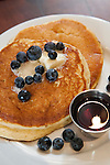 Blueberry pancakes with blueberries, butter and syrup on the side, Marfa, Texas, TX, USA