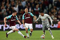 Jesse Lingard of Manchester United and Pablo Zabaleta and Declan Rice of West Ham United during West Ham United vs Manchester United, Premier League Football at The London Stadium on 10th May 2018