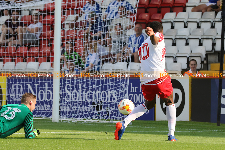 Rowan Liburd scores Stevenage's opening goal during Stevenage vs Brighton and Hove Albion, Friendly Match Football at the Lamex Stadium on 23rd July 2016