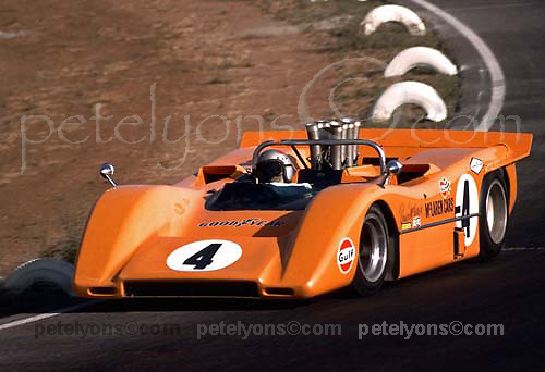 Bruce McLaren in McLaren M8A at 1968 Riverside Can-Am; Photo by Pete Lyons 1968/ © Pete Lyons / petelyons.com