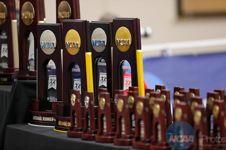 NAPERVILLE, IL - MARCH 11: Championship trophies are on display at the Division III Men's and Women's Indoor Track and Field Championship held at the Res/Rec Center on the North Central College campus on March 11, 2017 in Naperville, Illinois. (Photo by Steve Woltmann/NCAA Photos via Getty Images)