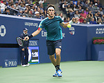 Leonardo Mayer (ARG) plays at the US Open being played on September  2, 2017 at Billy Jean King Ntional Tennis Center in Flushing, Queens, New York.  ©Leslie Billman/EQ