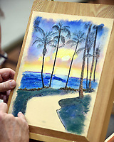 NWA Democrat-Gazette/FLIP PUTTHOFF<br />ARTIST AT WORK<br />Mike Meeks works on a pastel drawing Wednesday Feb. 28 2018 at the Rogers Adult Wellness Center. Pastel classes are held at the center each Tuesday and Wednesday, said Barbara Iglehart, instructor.