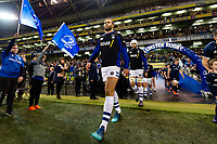 Jamie Roberts and the rest of the Bath Rugby team walk onto the pitch. Heineken Champions Cup match, between Leinster Rugby and Bath Rugby on December 15, 2018 at the Aviva Stadium in Dublin, Republic of Ireland. Photo by: Patrick Khachfe / Onside Images