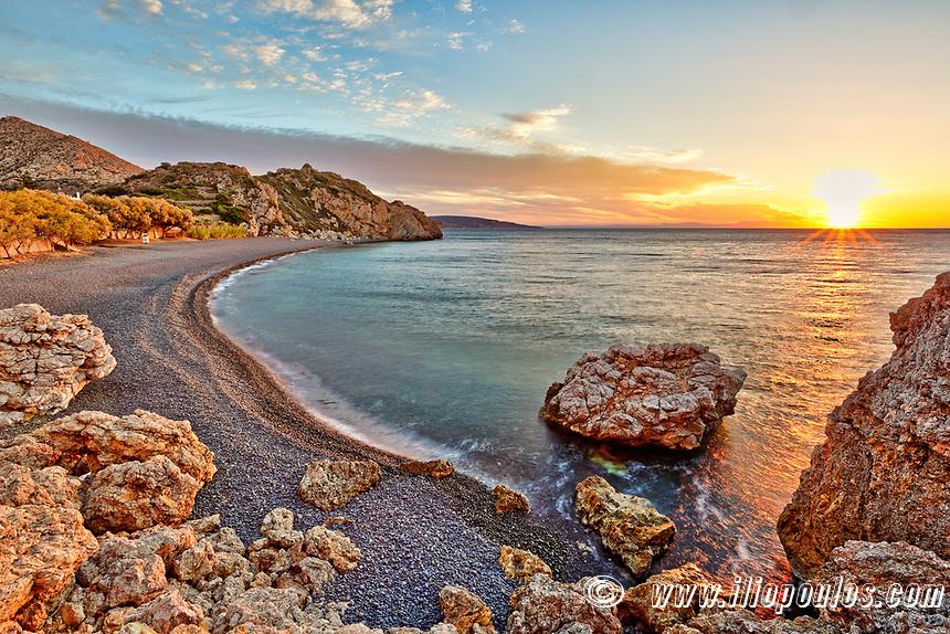 Sunrise at the famous beach Mavra Volia in Chios island, Greece