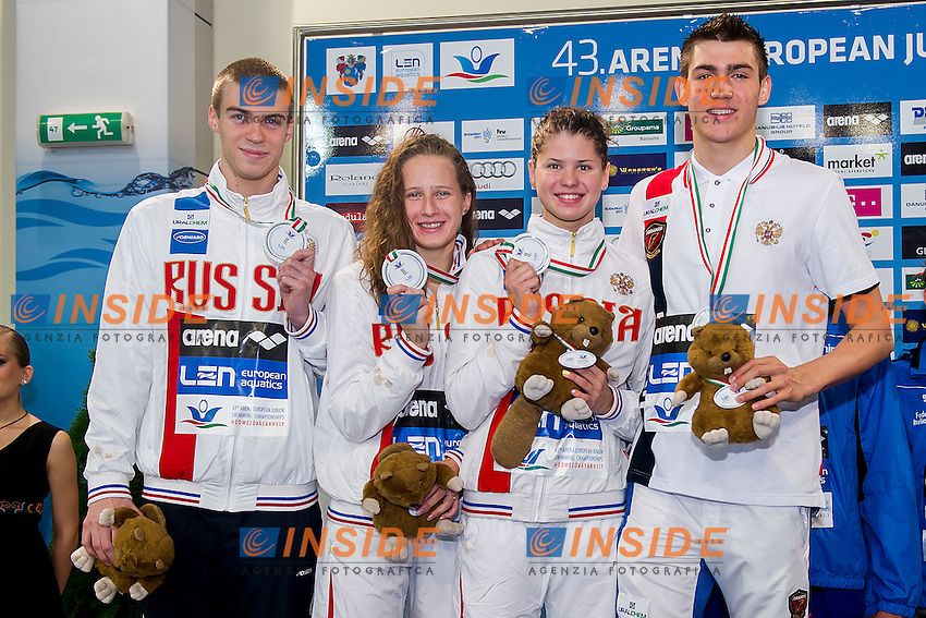 Russian Federation RUS<br /> 4X100 Medley Mixed relay Final Silver Medal<br /> LEN 43rd Arena European Junior Swimming Championships<br /> Hodmezovasarhely, Hungary <br /> Day04 09-07-2016<br /> Photo Andrea Masini/Deepbluemedia/Insidefoto