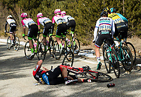 Picture by Alex Broadway/SWpix.com - 08/03/2018 - Cycling - 2018 Paris Nice - Stage Five -  Salon-De-Provence to Sisteron - Jean Pierre Drucker of BMC Racing Team on the floor after a crash.<br /> <br /> NOTE : FOR EDITORIAL USE ONLY. THIS IS A COPYRIGHT PICTURE OF ASO. A MANDATORY CREDIT IS REQUIRED WHEN USED WITH NO EXCEPTIONS to ASO/Alex Broadway MANDATORY CREDIT/BYLINE : ALEX BROADWAY/ASO